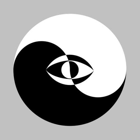 All seeing eye in the center of the Esoteric Yin and Yang decorative symbol. Vector illustration Illustration