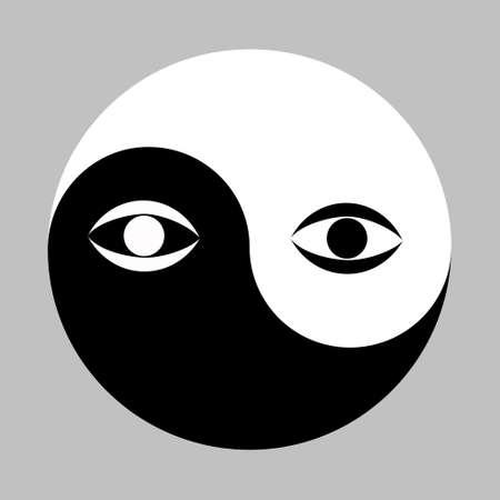 難解な陰と陽の装飾的なシンボルの中心にすべての目を見て。ベクトルイラスト