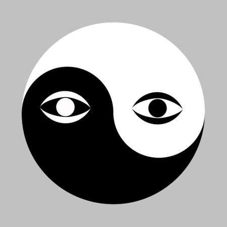 All seeing eye in the center of the Esoteric Yin and Yang decorative symbol. Vector illustration Stock Vector - 91347744