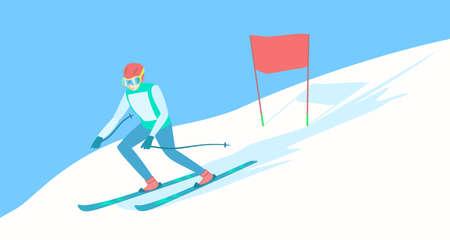 Alpine skier on the ski track.