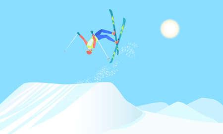 Skier over the springboard. Illustration