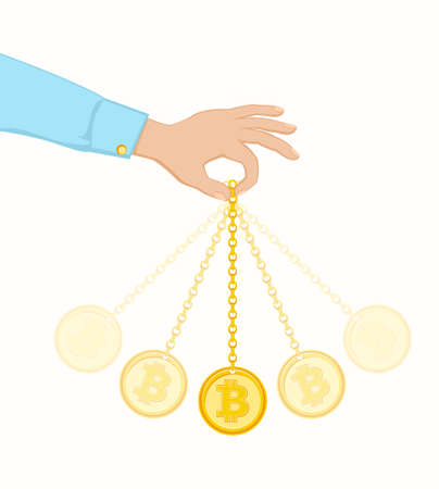 Coin swing like a pendulum illustration.
