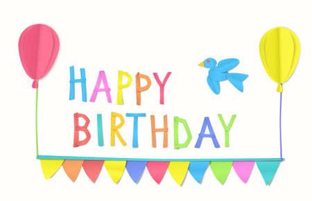 Childrens birthday congratulation. Stock Illustratie