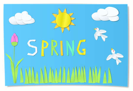 Kids cut paper art for spring.
