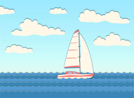 Yacht in the sea. Sailboat between small waves in the ocean. Vector illustration. Иллюстрация