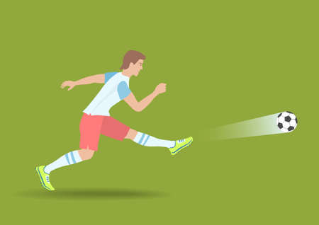Powerful Soccer Shot. The football player kicked on a ball. Vector illustration EPS-8. Иллюстрация