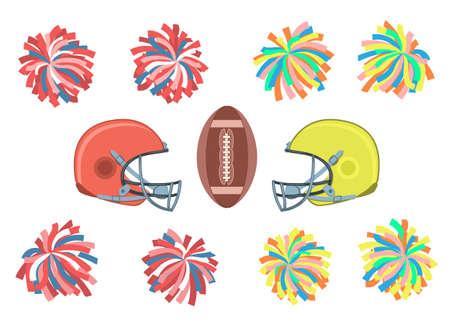 Conjunto de pompones multicolores, cascos y pelota. Ilustración de vector EPS-8.