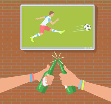 Football fans drinking while watching a game vector illustration