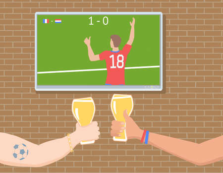 Soccer fans watching a match on TV with drinks vector illustration