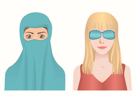 Muslim and European woman avatars set. Hijab or spectacle.