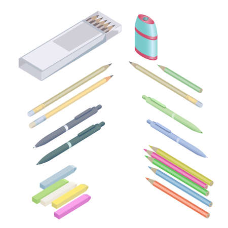 Assortment of office supplies in 3D isometric style.