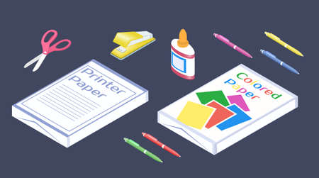 Office supplies in 3D isometric style. Set of stationery. 版權商用圖片