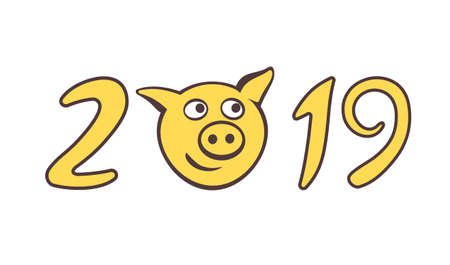 The cute piggy muzzle in numbers of 2019.