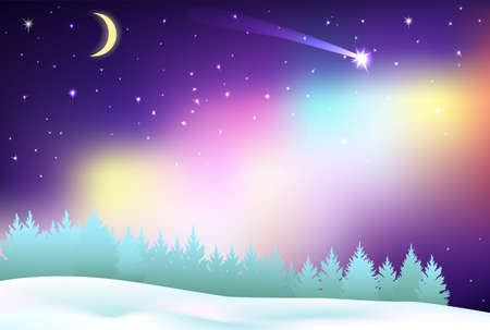 Fantastic Northern Lights over the pine forest and winter field. Fake of Aurora Borealis. Halo around the moon. Stars in the sky and beautiful shooting star tonight. Background Christmas.