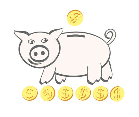 Piggy bank. Coins with dollar symbol. Container for saving money, shaped like a pig, with a slit in the top through which coins are dropped. Vector illustration EPS-8. Çizim