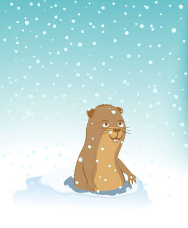 Groundhog climbed out of the hole and rejoices to snowfall. This is a sign of early spring. Happy Groundhog Day. Vector illustration EPS-8.
