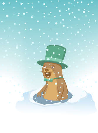 Groundhog with a hat and bow tie. Woodchuck rejoices to snowfall. Happy Groundhog Day. Vector illustration EPS-8. Illustration
