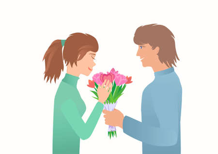 Guy give girl bouquet on the Date. Иллюстрация