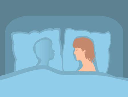 Der Mann liegt allein im Bett. Kerl in Trennung von Liebling. Ihr geliebter Ort ist leer. Nur ihr Geist auf dem Kissen. Vektor-Illustration. Vektorgrafik