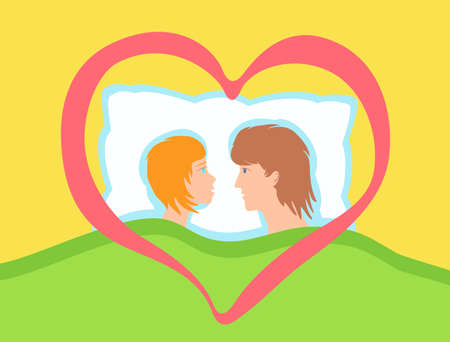 A couple of lovers together in bed. Stock Vector - 121362518