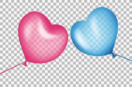 Balls in shape of a heart aspire to each other. Colorful air balloons, realistic blue and red with highlights. Transparent effects on plaid background. Vector illustration. Иллюстрация