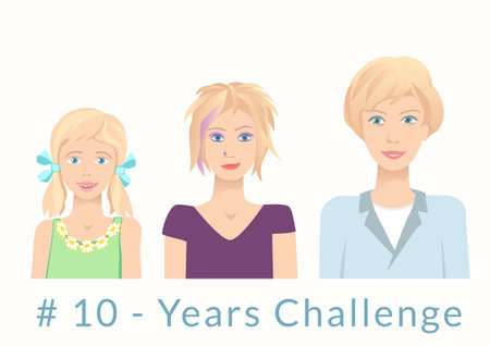 Young women of various age. Hashtag 10 years challenge concept. Same - the funny surprised girl, skeptical teenager and then smiling young woman. Vector illustration.