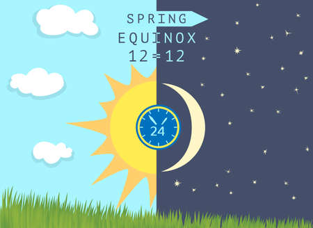 Time of spring equinox occurs around 20 March. Day becomes longer than night in the northern hemisphere. Half Sun and half Moon over growing wheat germs. Vector illustration