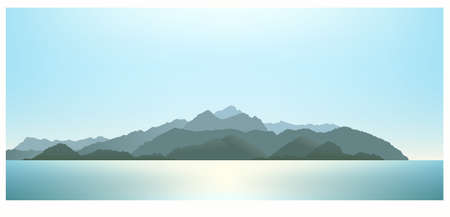 Mountains far away. View from the ocean. Blue sea landscape with silhouette of mountains on the horizon. Vector illustration EPS-8.