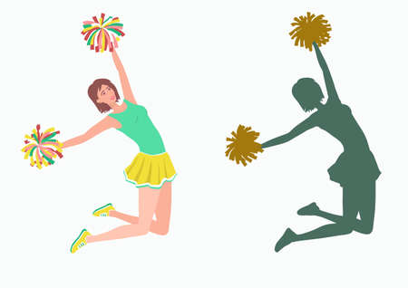 Cheerleader with pom-poms and her silhouette. Girl jumping with pom-poms. Vector illustration EPS-8.