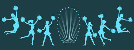 Silhouettes of Cheerleaders with pom-poms on dark background.