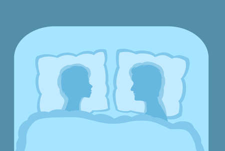 A couple in bed, man and woman rest and sleep. Concept of a deep sleep on an quality pillow. Vector illustration EPS-8.