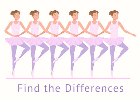 Find the Differences in jewelry on ballerinas. Girls with different decorations in classical coherency dance. Vector illustration EPS-8.