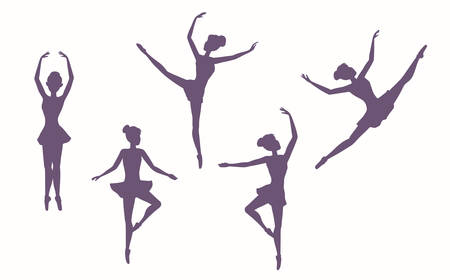 Young women in classical ballet dance. Set of silhouettes of dancing girls on a white background. Vector illustration EPS-8.
