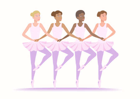 Young women of various nationalities in classical ballet dance. Girls of different ethnic and races dance together. Vector illustration EPS-8. Иллюстрация