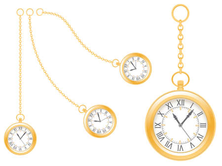 Pseudo antique gold watches on white background. Vintage clock with a chain of different lengths and shapes. Realistic vector illustration EPS-8. Иллюстрация