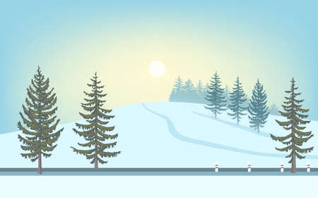 Winter landscape. Sun over snowy hill, road and fir-tree. Иллюстрация