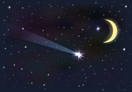 Night sky with moon and stars. Falling star. Ilustracja
