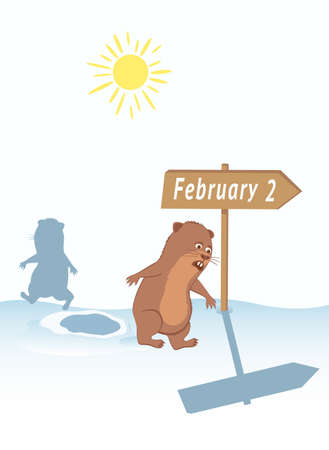 Joke about escaping groundhog shadow on February 2. Illustration
