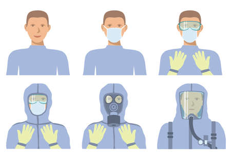Personal protective equipment against biochemical threats. Different levels of protection. Vecteurs