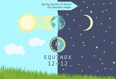 Infographics for Spring equinox occurs 20 March. Day becomes longer than night in the northern hemisphere.The date of Persian New Year named Nowruz. International Astrology Day and other holidays. Vectores