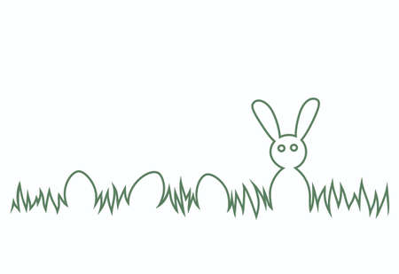 Happy Easter Bunny and eggs in the grass. Easter Egg Hunt theme.
