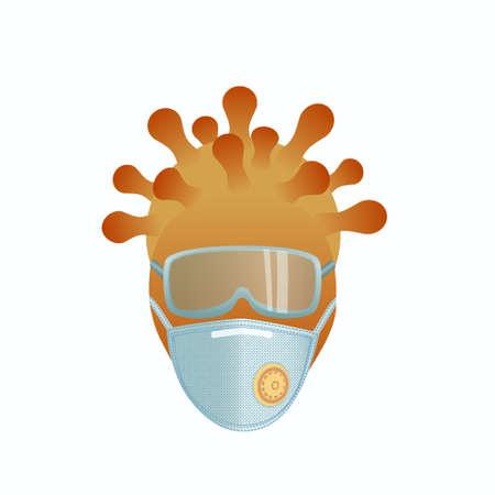 Protective glasses and respirator. Coronavirus infection visual metaphor.