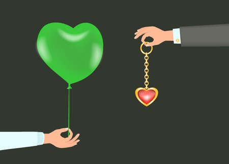 Hand with green balloon and other hand with Jewelry.  イラスト・ベクター素材