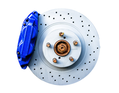 Blue brake caliper with perforated disk isolated