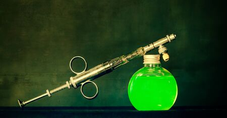 View of Syringe and bottle