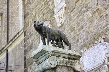 Statue of the Capitoline she-wolf, suckling Romulus and Remus, Rome, Lazio, Italy