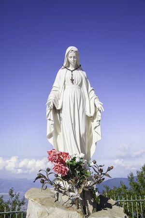 """Statue of """"Madonna dell'Accoglienza"""", Sanctuary of the Archangel Saint Michael, Monte Faito, Campania, Italy"""