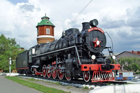nonworking: In a picture the old Soviet steam locomotive of series FD named so in honour of Felix Dzerszinsky - well-known founder and the head of KGB. Stock Photo