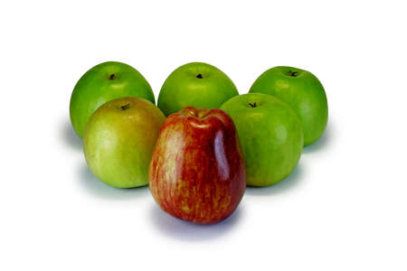 Five green and one red apples, isolated on a white background ( with clipping path ). photo