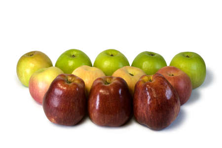 The dozen red, yellow and green apples isolated on a white background ( with clipping path ). photo